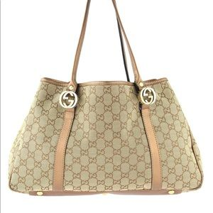 GUCCI EAST WEST TWIN GG CANVAS TOTE